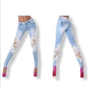 Denim - Distressed Lace Skinny Jeans